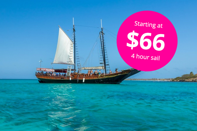 Set sail for a 4 - hour adventure Sailing aboard the 85 ft Jolly Pirates Schooners, cruising along the picturesque coastline in Aruba. Enjoy snorkeling in turquoise waters aboard the most requested Sailing excursion in Aruba. Visit three of the island's most popular swimming and snorkeling sites, teeming with schools of tropical fish. Shallow reef formations along the coast of Malmok Beach, are ideal to swim and snorkel with the colorful tropical sea critters. When the Jolly Pirates Ships sail to Boca Catalina you will find a shallow protected cove area which provides fantastic visibility. Snorkel among colorful fish waiting to greet you. Yellow striped grunts, angelfish, parrot fish and groupers are darting in and out of reef formations. Snorkel over an awesome piece of WWII History, a 400ft Shipwreck scuttled by its Captain and crew at the onset of WWII. Resting on her port side in only 60 ft (18 meters) of water, you will be amazed at the awesome site of the SS Antilla, Shipwreck. Its hull, nearly intact after so many years is home to an abundant array of sea life. While under the watchful eyes of experts, the crew will take you from stem to stern along the Antilla Wreck, truly an impressive piece of WWII history. Enjoy a tasty BBQ and an unlimited open bar. Choose to unleash your inner Jack Sparrow off the ship's rope swing. Perfect your tan stretched out on the ample sundeck or relax under the ship's shaded canopy with comfy seating around the bar. Friendly crew members will circulate your complimentary beverages and will perform flips, literally to keep Island visitors passionate about returning with each visit to Aruba. A tasty barbecue lunch, the unlimited open bar service, rope swing and your full set of snorkeling gear are all provided. We recommend that you reserve your tickets in advance for Aruba's most popular excursion. Plan to arrive 30-45 minutes in advance for check - in and boarding. All Jolly Pirates snorkel excursions depart from the area at MooMba Beach, Aruba, where you will board the impressive teak pirate schooners. Point out any dietary concerns at the check - in counter.